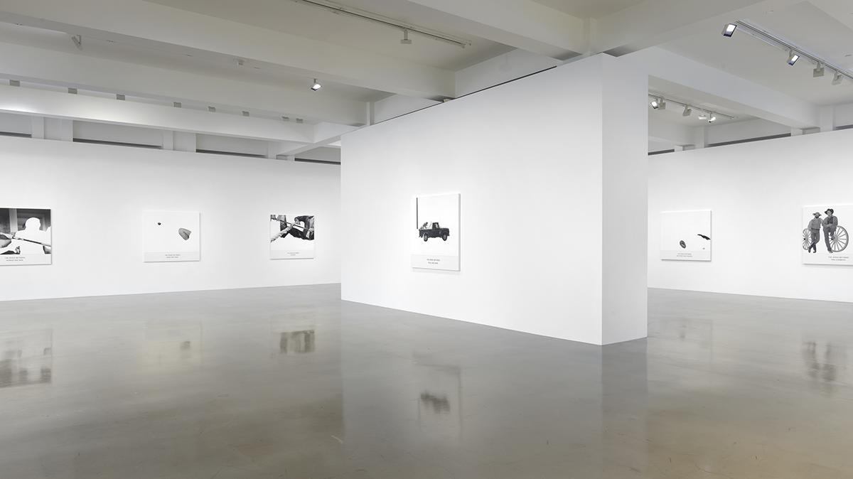 "Installation view, ""John Baldessari, The Space Between,"" June 12–September 11, 2021, Sprüth Magers, Los Angeles. All artworks © John Baldessari 2019. Courtesy Estate of John Baldessari © 2021. Photo by Robert Wedemeyer."