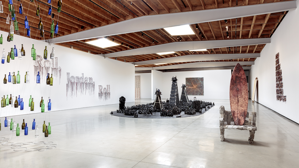 """""""Shattered Glass,"""" curated by Melahn Frierson and AJ Girard, Jeffrey Deitch, Los Angeles, 2021. Photo by Joshua White."""