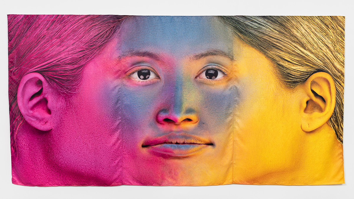 """Rollin Leonard, """"Color From Three Vectors,"""" (2020). Dye sublimation on polyester, 180 x 90 inches. Photo by Ruben Diaz."""