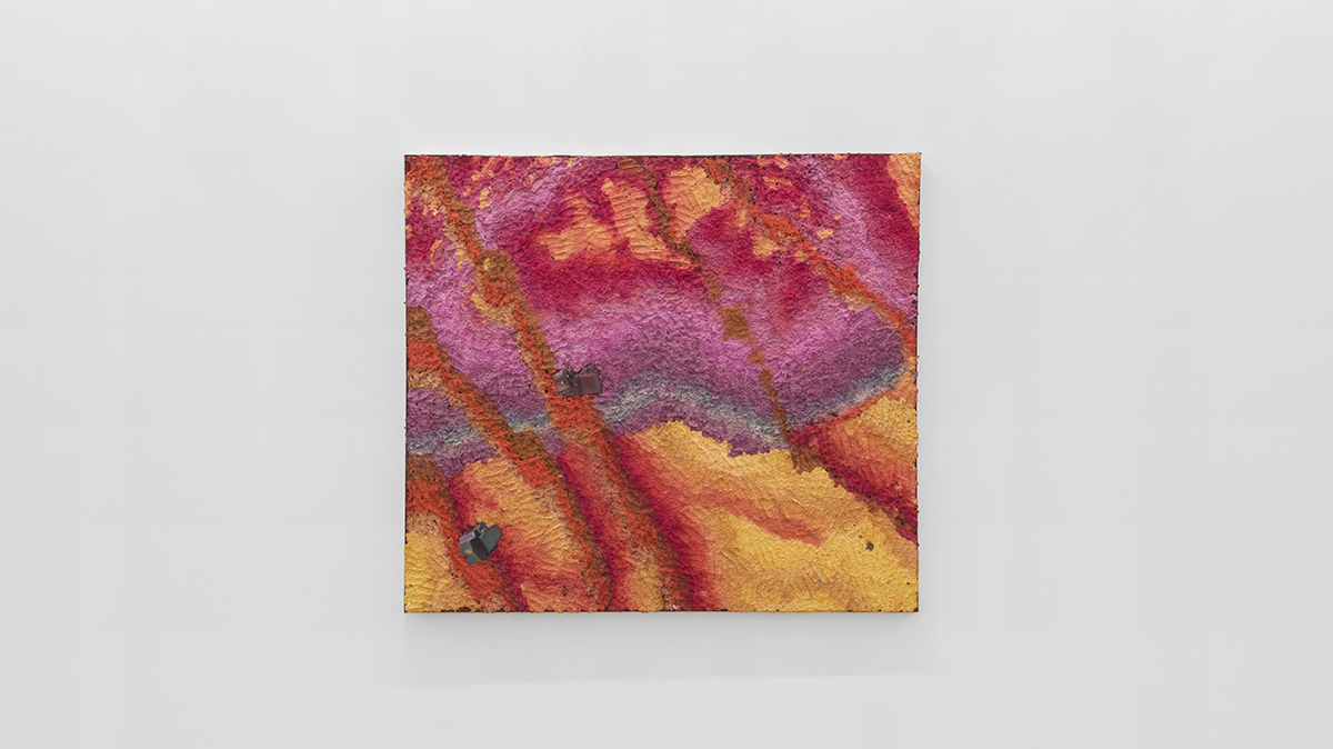 """Emma Soucek, """"I miss you, but I haven't met you yet,"""" 2021. Paper pulp, collage, acrylic paint, glue 48 x 54 inches. Image courtesy of the Artist and Parrasch Heijnen, Los Angeles, CA."""